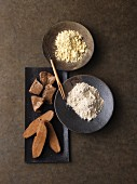 An arrangement of various seitan products and sweet lupine flour