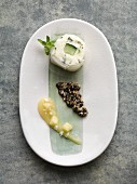Sushi-style radish roll with pumpkin seed pesto and an apple and horseradish mousse