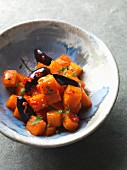Hokkaido pumpkin caramelised and honey with olives and chilli