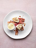 Grilled Crottin de Chavignol and rhubarb with mustard sabayon
