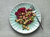 Jerusalem artichoke salad with watercress and pomegranate seeds
