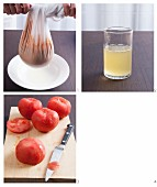 Kaltes, weißes Tomatensüppchen mit gefüllter Tomate zubereiten