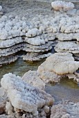 Layers of salt crystals from on the Dead Sea
