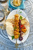 A grilled, oriental chicken skewer with onions and bean paste