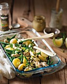 Potato salad with mackerel and capers