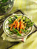 A salad of baby carrots, dandelions and potatoes