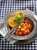 Potato goulash with corn and rice flour pancakes