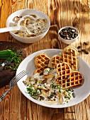 Pumpkin waffles with creamy mushrooms