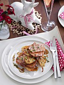 Roast ham with pears for Christmas