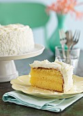Lemon cake with grated coconut