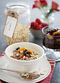 Porridge with nuts, dried fruit and maple syrup