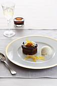 Chocolate tartlet with vanilla ice cream
