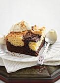 Chocolate and vanilla brownies with cinnamon cream