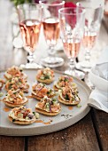 Blinis with salmon and champagne