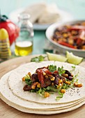 Burrito with beef and sweetcorn