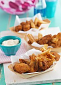 Chicken wings and french fries