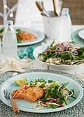 Salmon fillet with spaghetti salad