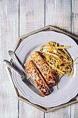 Teriyaki salmon with honey and noodles