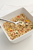 Couscous salad with peppers and feta cheese