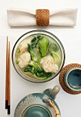 Shrimp soup with wontons and bok choy (seen above)