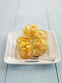 Glasses of fruit jelly