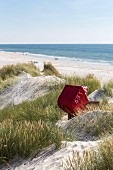 A beach chair in the dunes at Amrum