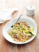 Vegan Pad Thai with cucumber noodles and radish