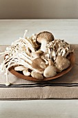 Various fresh mushrooms in a wooden bowl on a tea towel