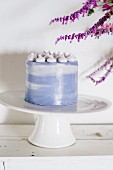 Carrot cake with blue glaze