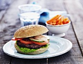 Hamburger with tomatoes and cucumber