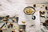 Chestnut mushroom soup with hazelnuts