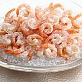 Cooked prawns on ice