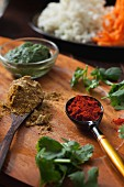 Spices, chutney and coriander for Indian veggie burgers