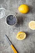 Lemons and poppyseeds in a jar for baking