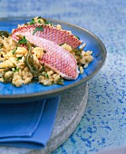 Red mullet fillets on risotto with seaweed