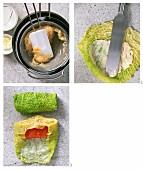 Lachsforelle im Wirsingblatt zubereiten