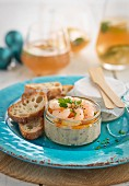 Homemade prawn pâté with grilled bread