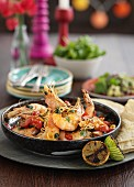 King prawns with chilli, garlic and tomatoes