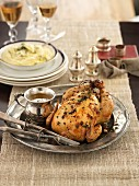 Thyme chicken with mashed potatoes