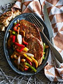 Pork escalopes with a pepper medley