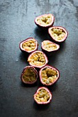 Red passion fruits, halved