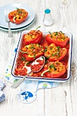 Stuffed red pepper with lentils and salami