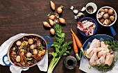 Coq au vin with ingredients
