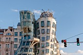 The Dancing House created by the famous architect Frank Gehery in Prague new town