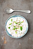 Cucumber and tomato raita with mint