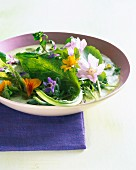 Green gazpacho with fresh herbs and edible flowers