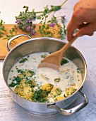 Potatoes in a herb sauce