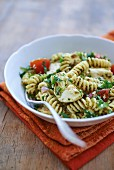 Fusilli with artichokes, tomatoes and herbs