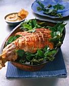 Luau pork in a terracotta dish