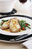 Gratinated veal escalope with mozzarella and lemon